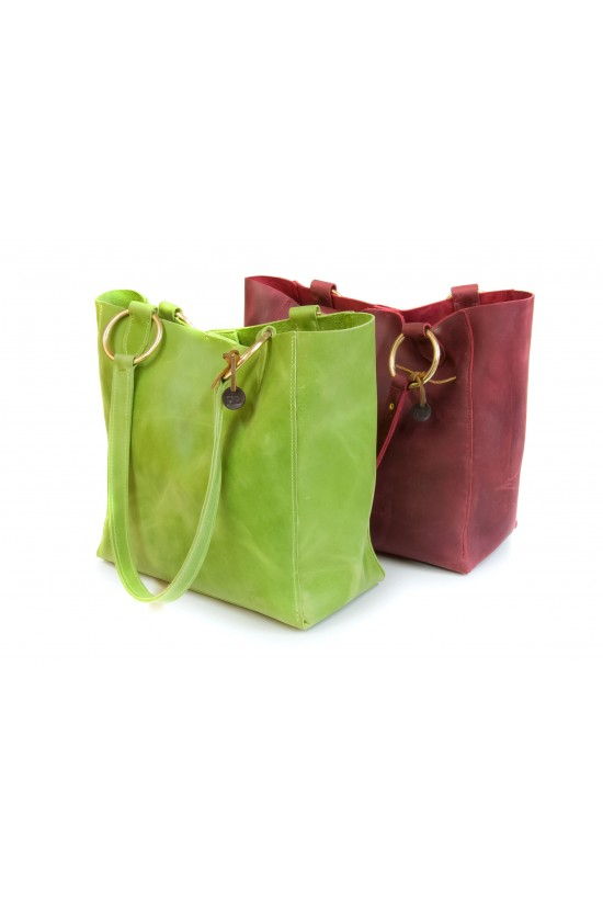 *EB Green and Burgundy Leather Tote Bag